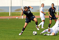 Abby Wambach pulls the ball away from an Icelandic defender. The USWNT defeated Iceland (2-0) at Vila Real Sto. Antonio in their opener of the 2010 Algarve Cup on February 24, 2010.