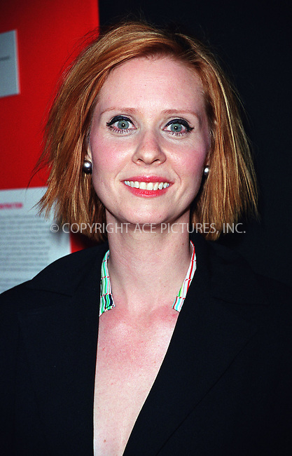 "Actress CYNTHIA NIXON attends a party to celebrate ""Rosie"" Magazine's first anniversary at International Center of Photography in New York. Popular TV personality Rosie O'Donnell is the editorial director of magazine.  April 16, 2002. Please byline: Alecsey Boldeskul/NY Photo Press.   ..*PAY-PER-USE*      ....NY Photo Press:  ..phone (646) 267-6913;   ..e-mail: info@nyphotopress.com"