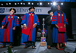 Doctoral students receive their hoods during the DePaul University College of Law commencement ceremony, Sunday, May 13, 2018, at the McCormick Place Grand Ballroom in Chicago, IL. Approximately 280 students received their Juris Doctors or Master of Laws degrees during the event. (DePaul University/Jamie Moncrief)
