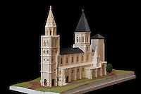 "Model of the Collegiale Notre-Dame de Poissy, how it was in the 13th century when Saint Louis was baptised there (1214). The catholic parish church was founded c. 1016 by Robert the Pious and rebuilt 1130-60 in late Romanesque and early Gothic styles, in Poissy, Yvelines, France. The model was built by the prisonners of the central jail of Poissy under the direction of ""Sauvegarde et Animation du Patrimoine Sacré"" and ""Cercle d'Etude Historiques et Archéologiques"" (CEHA) of Poissy. The Collegiate Church of Our Lady of Poissy was listed as a Historic Monument in 1840 and has been restored by Eugene Viollet-le-Duc. Picture by Manuel Cohen"