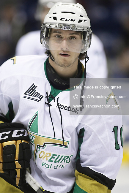 QMJHL (LHJMQ) hockey profile photo on Val D'Or Foreurs Michael Beaudry September 30, 2012 at the Colisee Pepsi in Quebec city.