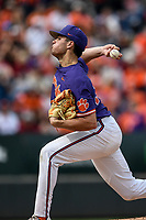 Starting pitcher Davis Sharpe (30) of the Clemson Tigers delivers a pitch in the Reedy River Rivalry game against the South Carolina Gamecocks on Saturday, March 2, 2019, at Fluor Field at the West End in Greenville, South Carolina. Clemson won, 11-5. (Tom Priddy/Four Seam Images)