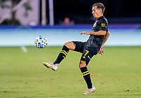 16th July 2020, Orlando, Florida, USA;  Columbus Crew forward Pedro Santos (7) passes the ball during the MLS Is Back Tournament between the Columbus Crew SC versus New York Red Bulls on July 16, 2020 at the ESPN Wide World of Sports, Orlando FL.