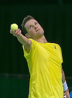 08-02-2014, Netherlands, Rotterdam, Ahoy, ABNAMROWTT,  Kenny de Schepper (FRA)<br /> Photo:Tennisimages/Henk Koster