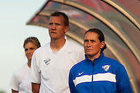 Boston Breakers head coach Lisa Cole with assistants Maren Rojas and Jason Hamilton. Sky Blue FC defeated the Boston Breakers 5-1 during a National Women's Soccer League (NWSL) match at Yurcak Field in Piscataway, NJ, on June 1, 2013.