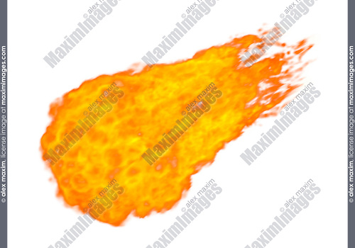 Stock Illustration of a Fireball Flying bolt of blazing fire Isolated silhouette over white background