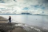 USA, Alaska, Homer, China Poot Bay, Kachemak Bay, playing in the water near Homer Spit