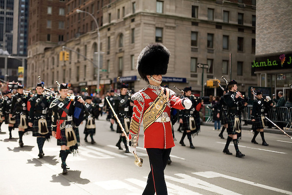 Saturday, April 14,  2007, New York, New York.. The 9th annual Tartan Day Parade was held today on 6th Avenue between 44th and 58th Streets.. Thousands turned out to play the drums, pipes and to view all those dressed for the occasion.. Tom Belyea, of Boston, marches with the Edinburgh Academy CCF Pipes and Drums up 6th Avenue.