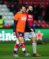 Luke Arscott of Bristol Rugby and Kane Palma-Newport of Bath Rugby. European Rugby Challenge Cup match, between Bristol Rugby and Bath Rugby on January 13, 2017 at Ashton Gate Stadium in Bristol, England. Photo by: Patrick Khachfe / Onside Images