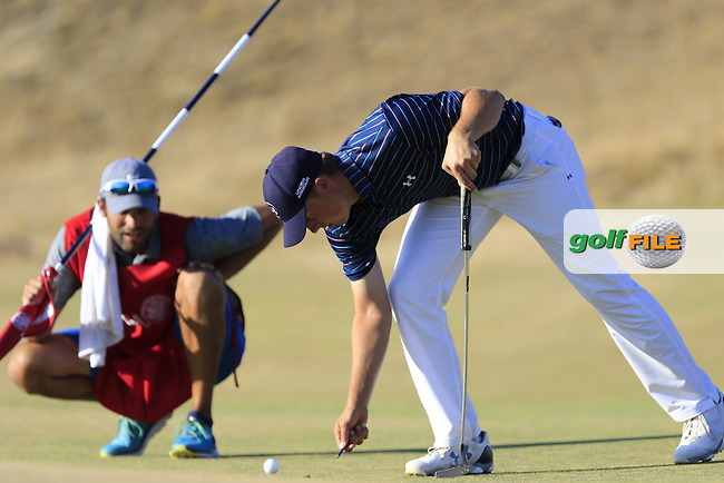 Jordan Speith (USA) on the 17th green during Sunday's Final Round of the 2015 U.S. Open 115th National Championship held at Chambers Bay, Seattle, Washington, USA. 6/22/2015.<br /> Picture: Golffile | Eoin Clarke<br /> <br /> <br /> <br /> <br /> All photo usage must carry mandatory copyright credit (&copy; Golffile | Eoin Clarke)