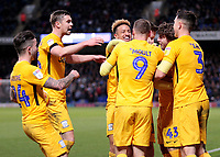 Preston North End's Paul Gallagher is mobbed after scoring his side's equalising goal to make the score 1-1<br /> <br /> Photographer David Shipman/CameraSport<br /> <br /> The EFL Sky Bet Championship - Ipswich Town v Preston North End - Saturday 3rd November 2018 - Portman Road - Ipswich<br /> <br /> World Copyright &copy; 2018 CameraSport. All rights reserved. 43 Linden Ave. Countesthorpe. Leicester. England. LE8 5PG - Tel: +44 (0) 116 277 4147 - admin@camerasport.com - www.camerasport.com