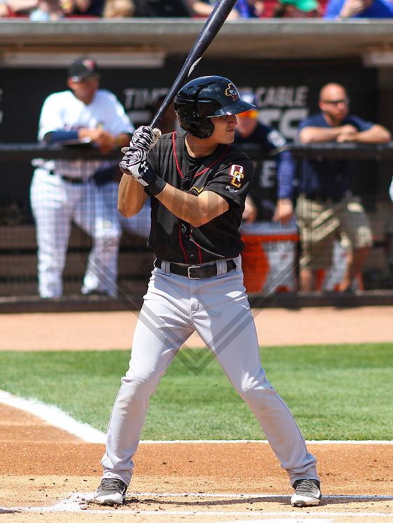 APPLETON - May 2015: Quad Cities River Bandits shortstop Mott Hyde (3) during a game against the Wisconsin Timber Rattlers on May 2nd, 2015 at Fox Cities Stadium in Appleton, Wisconsin.  Quad Cities defeated Wisconsin 5-2.  (Brad Krause/Four Seam Images)