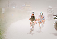Chris Froome (GBR/SKY) 'left behind' after a mechanical by his teammates (who're riding at the front of the peloton) on the gravel section after the top of the Mont&eacute;e du plateau des Gli&egrave;res (HC/1390m)<br /> Alexander Kristoff (NOR/UAE) following him...<br /> <br /> Stage 10: Annecy &gt; Le Grand-Bornand (159km)<br /> <br /> 105th Tour de France 2018<br /> &copy;kramon