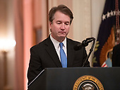 Associate Justice of the US Supreme Court Brett Kavanaugh seems to get emotional as he makes remarks after taking the Judicial Oath during a ceremony in the East Room of the White House in Washington, DC on Monday, October 8, 2018.  Kavanaugh formally took the oath on Saturday, hours after he was confirmed by the US Senate.  <br /> Credit: Ron Sachs / CNP<br /> (RESTRICTION: NO New York or New Jersey Newspapers or newspapers within a 75 mile radius of New York City)