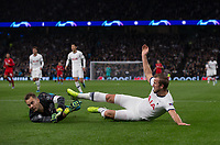 Harry Kane of Spurs & Goalkeeper Manuel Neuer of Bayern Munich during the UEFA Champions League group match between Tottenham Hotspur and Bayern Munich at Wembley Stadium, London, England on 1 October 2019. Photo by Andy Rowland.