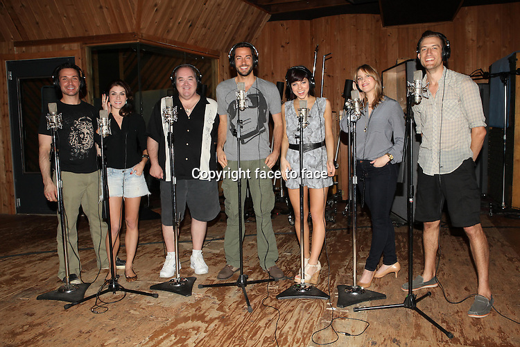 Zachary Levi and Krysta Rodriguez joined by cast mates at the cast album recording for their new Broadway Musical, First Date. MSR Studios, New York, 12.08.2013.<br /> Credit: MediaPunch/face to face<br /> - Germany, Austria, Switzerland, Eastern Europe, Australia, UK, USA, Taiwan, Singapore, China, Malaysia, Thailand, Sweden, Estonia, Latvia and Lithuania rights only -