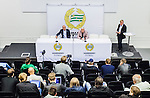 Stockholm 2014-08-24 Fotboll Superettan Hammarby IF - Ljungskile SK :  <br /> Vy &ouml;ver salen f&ouml;r presskonferensen efter matchen med Hammarbys tr&auml;nare Nanne Bergstrand och Ljungskiles tr&auml;nare Tor-Arne Fredheim <br /> (Foto: Kenta J&ouml;nsson) Nyckelord:  Superettan Tele2 Arena Hammarby HIF Bajen Ljungskile LSK inomhus interi&ouml;r interior presskonferens press tr&auml;nare manager coach