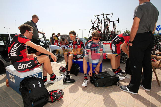 BMC Racing Team riders Danilo Wyss, Michael Schar and Martin Kohler (SUI) relax before the start of the 3rd Stage of the 2012 Tour of Qatar outside Dukhan Souq, Dukhan,, Qatar, 7th February 2012 (Photo Eoin Clarke/Newsfile)