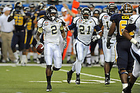 26 December 2010:  FIU defensive back Junior Mertile (2) celebrates his second-half interception as the FIU Golden Panthers defeated the University of Toledo Rockets, 34-32, to win the 2010 Little Caesars Pizza Bowl at Ford Field in Detroit, Michigan.