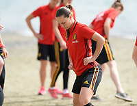 20180305 - LARNACA , CYPRUS :  Belgian Jassina Blom pictured during a Muscular warm up training session on the beach before a women's soccer game between The Belgian Red Flames and Austria , on monday 5 March 2018 on the CTO Beach in Larnaca , Cyprus . The game will be the third game in group B for Belgium during the Cyprus Womens Cup , a prestigious women soccer tournament as a preparation on the World Cup 2019 qualification duels. PHOTO SPORTPIX.BE | DAVID CATRY