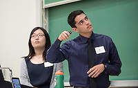 "Nan Ma '18 and Ethan Heffernan '18 co-present ""Looking for the Invisible: A Search for Dark Matter"" and ""Calibration of the Drift-BDX Detector in Stanford Linear Accelerator""<br /> Occidental College's Undergraduate Research Center hosts their annual Summer Research Conference on Aug. 4, 2016. Student researchers presented their work as either oral or poster presentations at the final conference. The program lasts 10 weeks and involves independent research in all departments.<br /> (Photo by Marc Campos, Occidental College Photographer)"