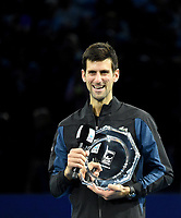 Novak Djokovic giving his runner up speech after losing the match against Alexander Zverev in the finals today<br /> <br /> Photographer Hannah Fountain/CameraSport<br /> <br /> International Tennis - Nitto ATP World Tour Finals Day 8 - O2 Arena - London - Sunday 18th November 2018<br /> <br /> World Copyright &copy; 2018 CameraSport. All rights reserved. 43 Linden Ave. Countesthorpe. Leicester. England. LE8 5PG - Tel: +44 (0) 116 277 4147 - admin@camerasport.com - www.camerasport.com