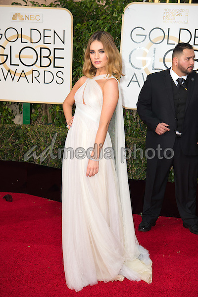 Lily James arrives at the 73rd Annual Golden Globe Awards at the Beverly Hilton in Beverly Hills, CA on Sunday, January 10, 2016. Photo Credit: HFPA/AdMedia