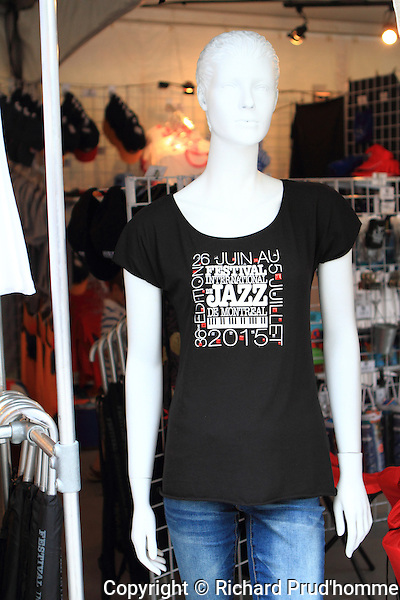 Souvenir t-shirts for sale an the Montreal International Jazz Fesital