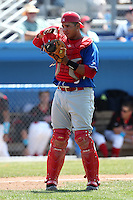 Auburn Doubledays Miguel Perez #20 during a game against the Batavia Muckdogs at Dwyer Stadium on June 19, 2011 in Batavia, New York.  Auburn defeated Batavia 6-4.  (Mike Janes/Four Seam Images)