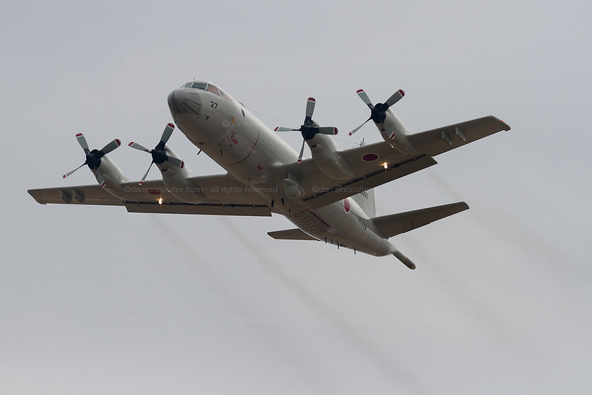 A Lockheed P-3C Orion Maritime reconnaissance aircraft with the Japanese Maritime Self Defence Force takes off from Naval Air Facility, Atsugi near Yamato. Kanagawa, Japan. Tuesday February 26th 2019