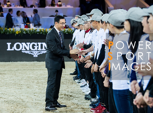 Hong Kong Equestrian Federation President Michael Lee shakes hands with the volunteers after the Longines Grand Prix during the Longines Masters of Hong Kong at AsiaWorld-Expo on 11 February 2018, in Hong Kong, Hong Kong. Photo by Diego Gonzalez / Power Sport Images