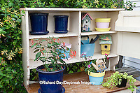 63821-203.13 Potting bench with containers and flowers in spring, Marion Co. IL