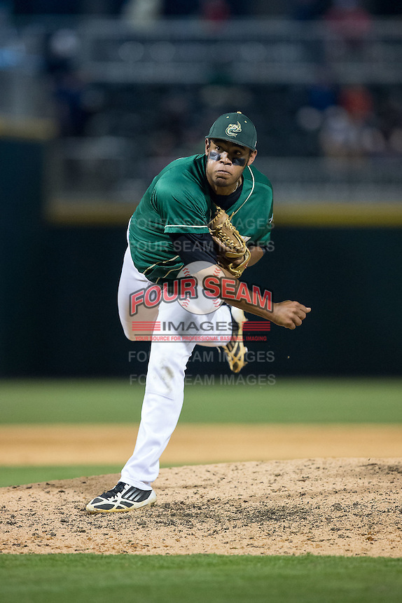 Charlotte 49ers relief pitcher Logan Sherer (25) in action against the North Carolina State Wolfpack at BB&T Ballpark on March 31, 2015 in Charlotte, North Carolina.  The Wolfpack defeated the 49ers 10-6.  (Brian Westerholt/Four Seam Images)
