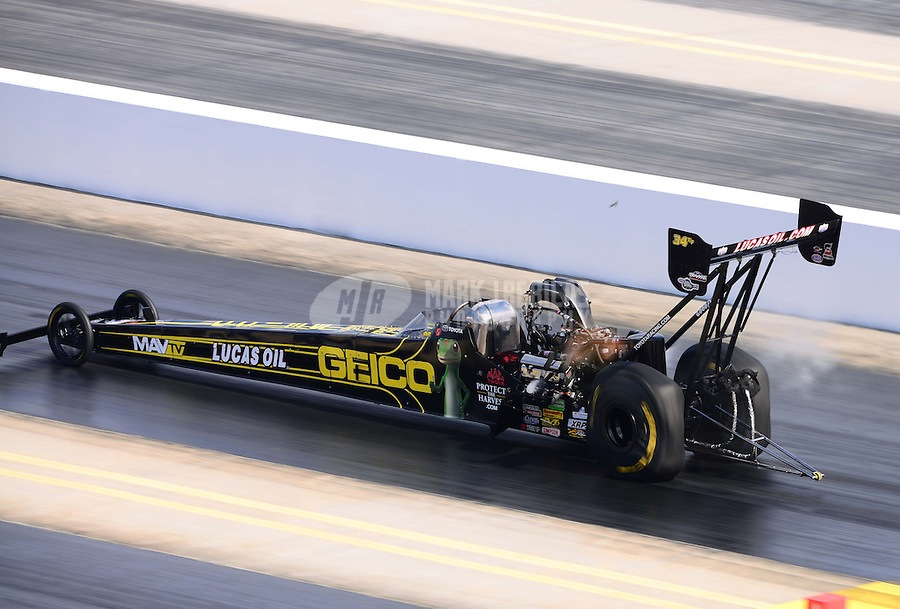 Sept. 15, 2012; Concord, NC, USA: NHRA top fuel dragster driver Morgan Lucas during qualifying for the O'Reilly Auto Parts Nationals at zMax Dragway. Mandatory Credit: Mark J. Rebilas-