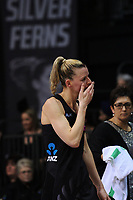 Katrina Grant blows a kiss to fans after the Taini Jamieson Trophy Series netball match between the New Zealand Silver Ferns and England Roses at Claudelands Arena in Hamilton, New Zealand on Wednesday, 13 September 2017. Photo: Dave Lintott / lintottphoto.co.nz