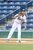Cody Bellinger (10) of the Rancho Cucamonga Quakes catches a  throw to first base during a game against the Visalia Rawhide at LoanMart Field on May 6, 2015 in Rancho Cucamonga, California. Visalia defeated Rancho Cucamonga, 7-2. (Larry Goren/Four Seam Images)