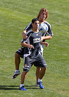 Real Madrid midfielder Cocinho and defender Sergio Ramos during the Real Madrid Practice Session held at Rice Eccles Stadium in Salt Lake City, Utah on August 11, 2006