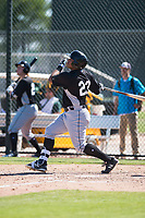 Chicago White Sox first baseman Harvin Mendoza (23) hits a home run during an Instructional League game against the Oakland Athletics at Lew Wolff Training Complex on October 5, 2018 in Mesa, Arizona. (Zachary Lucy/Four Seam Images)