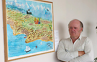 Artist Tadhg MacSweeney with his painting 'Valparaiso'  at the launch of 'An Leabhar Mor', 'The Great Book of Gaelic' which features the wook of over 200 poets, visual artists and calligraphers from Ireland and Scotland at the Blasket Center, Dun Chaoin at the weekend were from left,<br /> The Leabhar Mor cleebrates the the vitality and diversity of contemporary artwork in the form of a visual anthology.<br /> Picture by Don MacMonagle