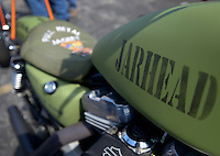 NWA Democrat-Gazette/BEN GOFF @NWABENGOFF<br /> 'Jarhead,' a U.S. Marine Corps-inspired bike by Scotty 'Memphis' Robertson and Matt Gillen of Steele, Mo., sits on display on Saturday Sept. 26, 2015 during the Stokes Air Battle of the Bikes at the annual Bikes, Blues & BBQ motorcycle rally in downtown Fayetteville.