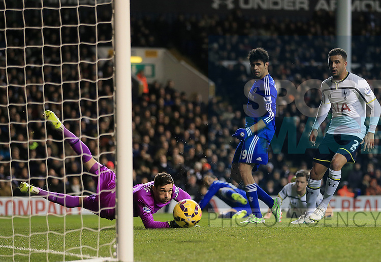 Tottenham's Hugo Lloris saves from Chelsea's Diego Costa<br /> <br /> Barclays Premier League - Tottenham Hotspur vs Chelsea - White Hart Lane  - England - 1st January 2015 - Picture David Klein/Sportimage