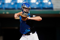 Jackson Baumeister (17) of The Bolles High School in Jacksonville, FL during the Perfect Game National Showcase at Hoover Metropolitan Stadium on June 17, 2020 in Hoover, Alabama. (Mike Janes/Four Seam Images)