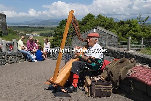 Welsh harp player Harlech. Gwynedd North Wales UK.<br /> <br /> Barie Edwards. telynbargoed@yahoo.com