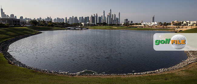 18th tee at The Address Montgomerie Golf Club, Dubai, United Arab Emirates.  27/01/2016. Picture: Golffile | David Lloyd<br /> <br /> All photos usage must carry mandatory copyright credit (&copy; Golffile | David Lloyd)