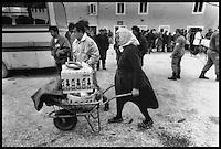 Humanitarian Aid Transport by german Red Cross during Balkan War in Zemunik, Croatia, 1993