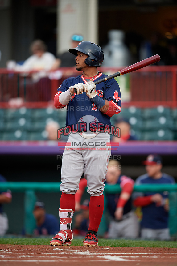 Portland Sea Dogs Jhon Nunez (2) at bat during an Eastern League game against the Erie SeaWolves on June 17, 2019 at UPMC Park in Erie, Pennsylvania.  Portland defeated Erie 6-3.  (Mike Janes/Four Seam Images)