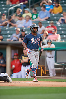 Abraham Almonte (7) of the Reno Aces during the game against the Salt Lake Bees at Smith's Ballpark on June 27, 2019 in Salt Lake City, Utah. The Aces defeated the Bees 10-6. (Stephen Smith/Four Seam Images)