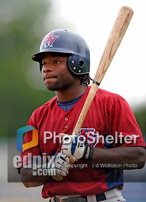 25 August 2008: Hudson Valley Renegade infielder Michael Ross prepares to take batting practice prior to a game against the Vermont Lake Monsters at historic Centennial Field in Burlington, Vermont. The Lake Monsters defeated the Renegades 8-5 in the second game of their three-game series in Vermont...Mandatory Credit: Ed Wolfstein Photo