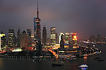 Asie, Chine, Shanghai, Pudong et la rivière Huangpu de nuit//Asia, China, Shanghai, Pudong and Huangpu river at night
