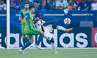 Carson, CA - Saturday July 29, 2017: Cristian Roldan, Emmanuel Boateng during a Major League Soccer (MLS) game between the Los Angeles Galaxy and the Seattle Sounders FC at StubHub Center.